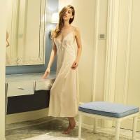 韓版白色長款蕾絲花朵睡裙