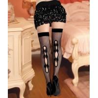 女式性感誘惑長筒黑花扣緊腿網紋情趣絲襪