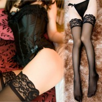 性感美腿寬蕾絲透明長筒自慰絲襪(黑)