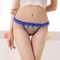 性感蕾絲丁字褲透明女士內褲珍珠裝飾真人露毛低腰內褲女T褲(藍)