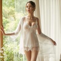 吊帶睡裙三件套蕾絲性感睡衣(圖色)