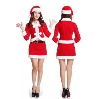 聖誕制服誘惑 性感大毛球除夕午夜約會裝溫柔紅精靈服